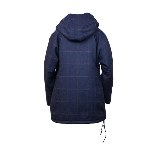 Roberta smock navy/check back view hood down