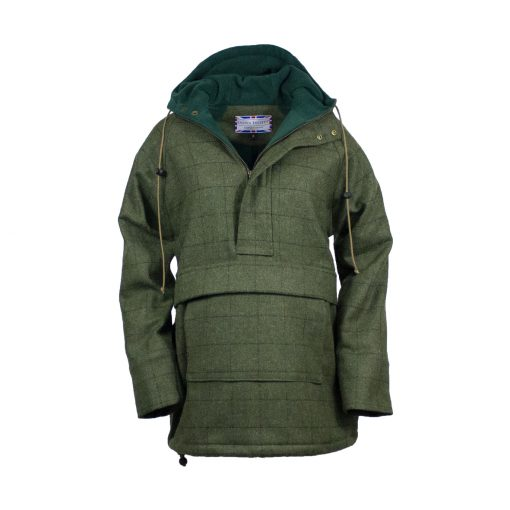 Roberta smock green check front view hood down zip open