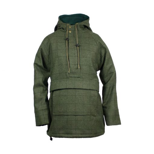 Roberta smock green front view zip up