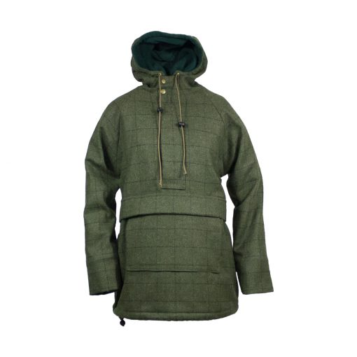 Roberta Smock front - green check zip up hood up