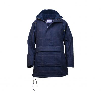 Roberta smock navy/check front view zip open hood down