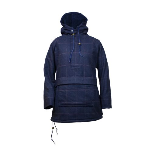Roberta smock navy/check front view zip up hood up