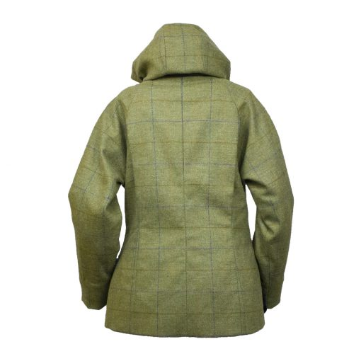 Amber jacket green/blue back hood up