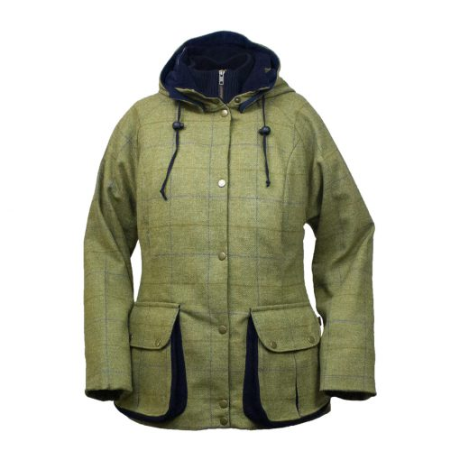 Amber jacket green/blue front hood down