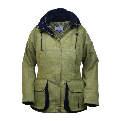 Amber jacket green/blue front hood on and down zip open