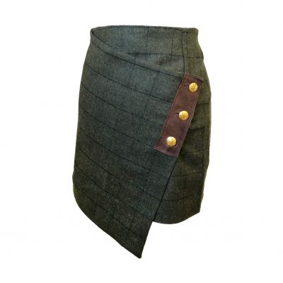 Our Lola skirt in green/brown colour option. Product shot - front