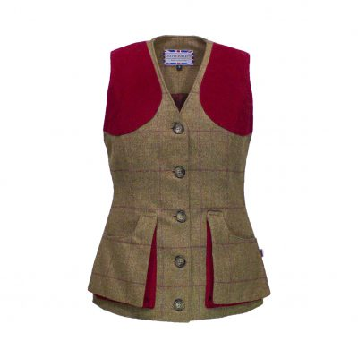 Josie gilet brown/red front view