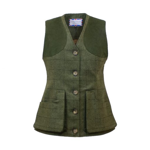 Our Josie Gilet - Green/Green Colour option - front view