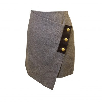 Our Lola skirt in taupe/tan colour option. Product shot - front